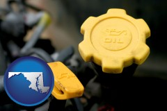 maryland map icon and automobile engine fluid fill caps
