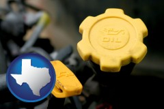 texas map icon and automobile engine fluid fill caps