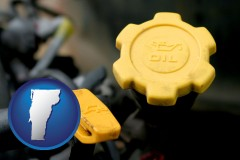vermont map icon and automobile engine fluid fill caps