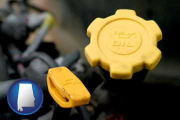 automobile engine fluid fill caps - with Alabama icon
