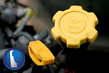 automobile engine fluid fill caps - with Delaware icon