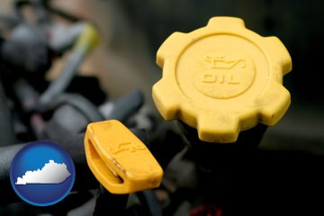 automobile engine fluid fill caps - with Kentucky icon