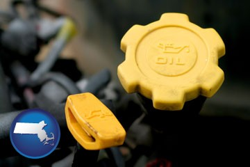automobile engine fluid fill caps - with Massachusetts icon