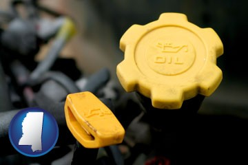 automobile engine fluid fill caps - with Mississippi icon