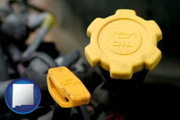 automobile engine fluid fill caps - with New Mexico icon